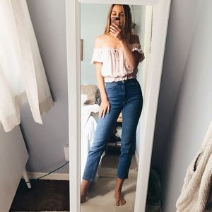 Girlfriend high waisted medium wash jeans cropped